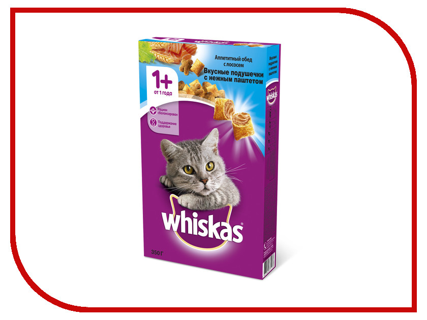 Корм Whiskas Подушечки Паштет лосось 350g 10161186/10150149 whiskas temptations hearty beef flavour treats for cats