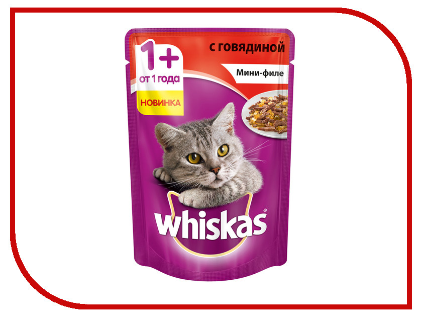 Корм Whiskas Пауч Желе мини филе говядина 85g 10165911 whiskas temptations hearty beef flavour treats for cats