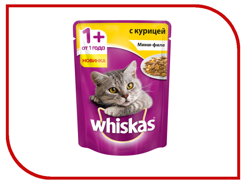 Корм Whiskas Пауч Желе мини филе курица 85g 10165913 whiskas temptations hearty beef flavour treats for cats