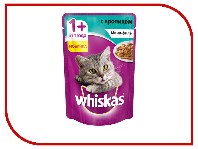 Корм Whiskas Пауч Желе мини филе кролик 85g 10165917 whiskas temptations hearty beef flavour treats for cats