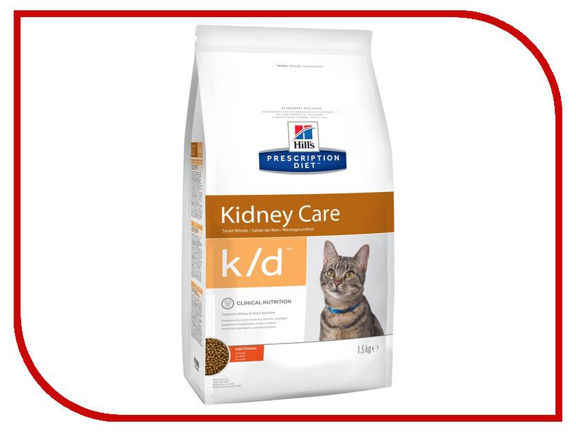 Корм Hills K/D Полноценный Диетический рацион при заболеваний почек МКБ 1.5kg для кошек 9186 консервы для кошек hill s k d диетические для лечения заболеваний почек с курицей 156 г х 12 шт