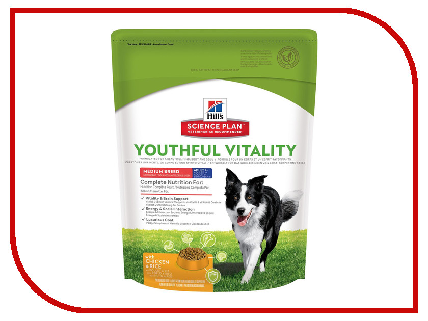 Корм Hills Youthful Vitality Курица 750g для пожилых собак средних пород 10987 корм hills курица 85g для пожилых кошек 2111