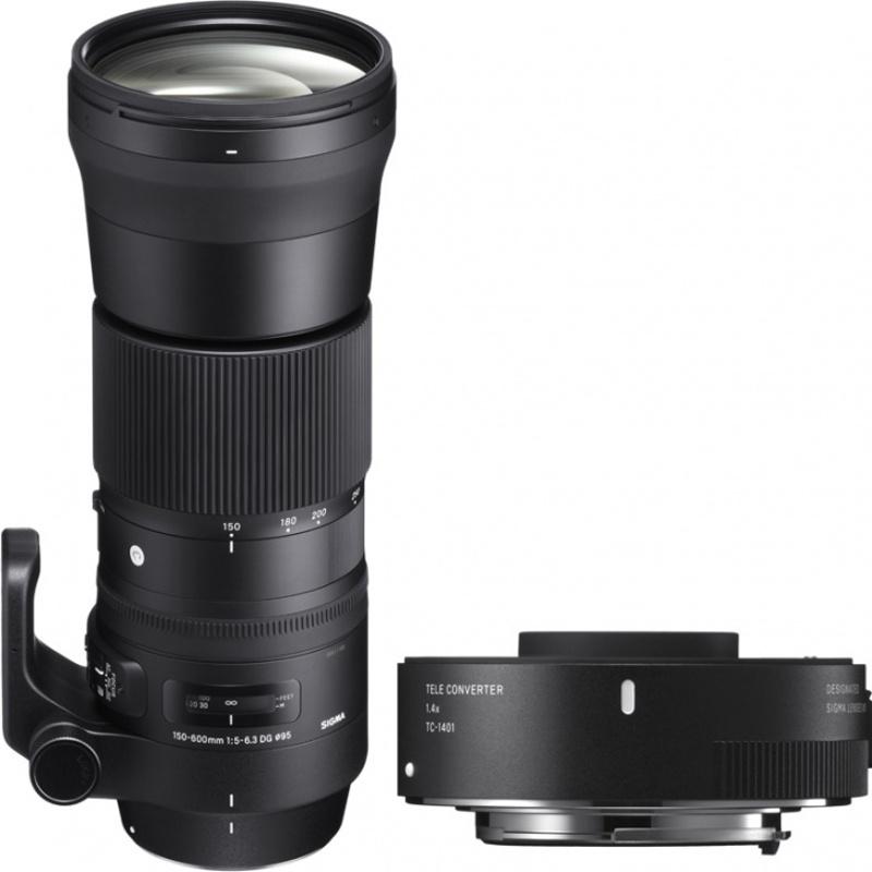 цена на Объектив Sigma Canon AF 150-600 mm F/5.0-6.3 DG OS HSM Contemporary + телеконвертер TC-1401