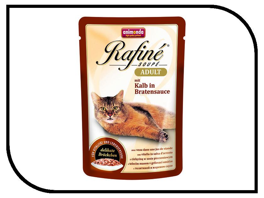 Корм Animonda Rafine Adult Телятина в жареном соусе 100g для взрослых кошек 83656 пребиотический напиток viyo reinforces cat adult для взрослых кошек 7 х 30 мл