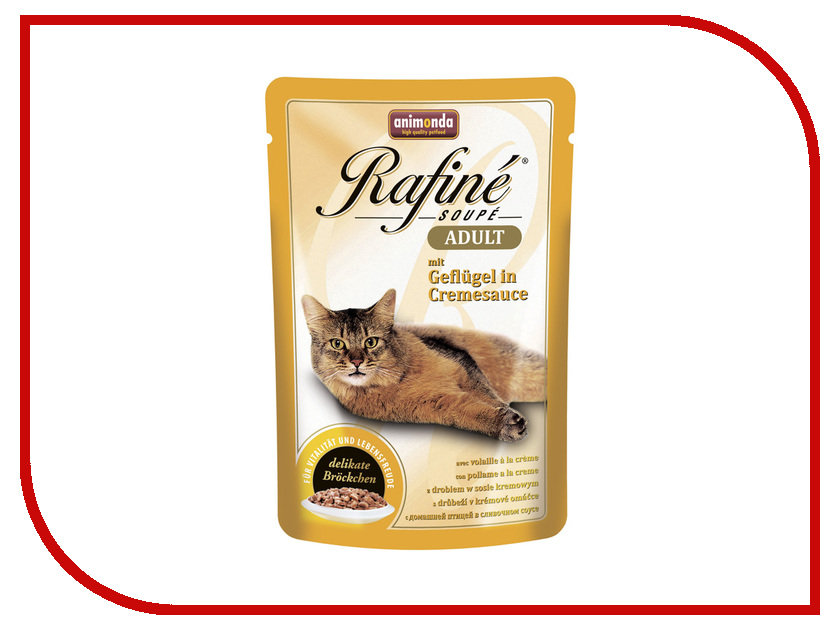 Корм Animonda Rafine Soupe Adult Птица в сливочном соусе 100g для взрослых кошек 83657 корм для кошек беркли 6 фрикасе домашняя птица с кусочками курицы и травами в соусе 85г