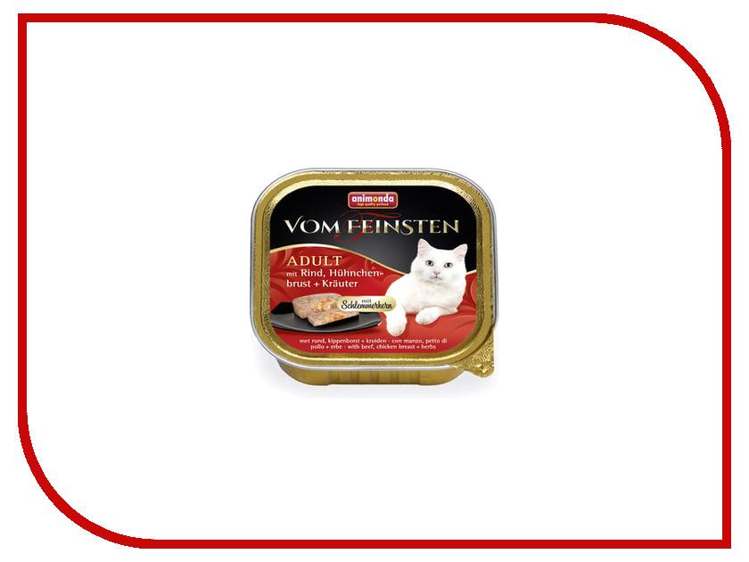 Корм Animonda Vom Feinsten Adult Куриная грудка с травами 100g для взрослых кошек 83264 пребиотический напиток viyo reinforces cat adult для взрослых кошек 7 х 30 мл