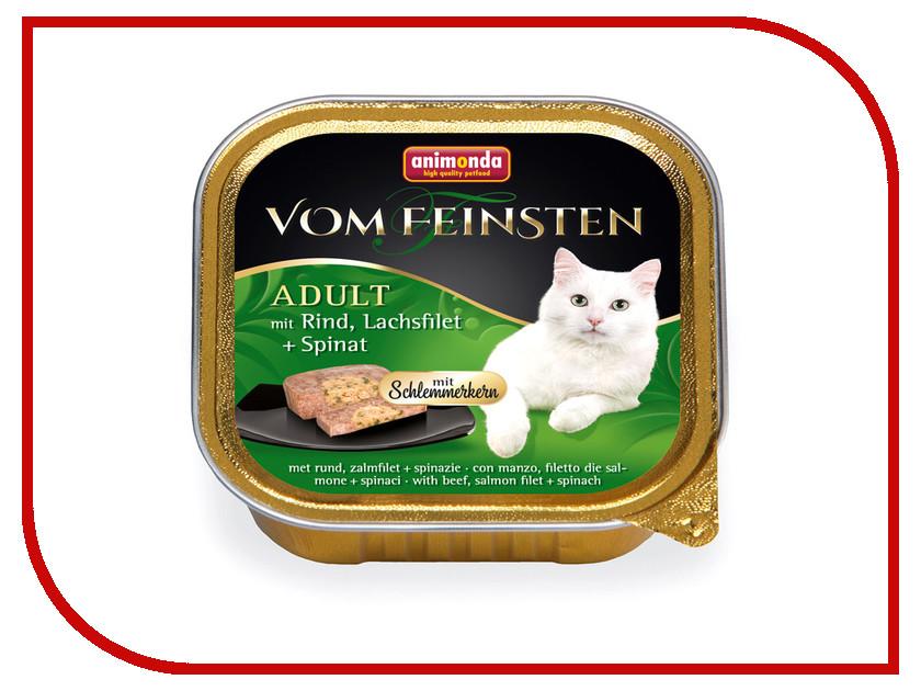 Корм Animonda Vom Feinsten Adult Курица филе лосося и шпинатом 100g для взрослых кошек 83260 пребиотический напиток viyo reinforces cat adult для взрослых кошек 7 х 30 мл