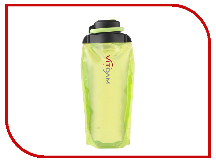 Бутылка VITDAM 860ml Yellowish Green поильники vitdam складная эко бутылка с карабином 500 мл
