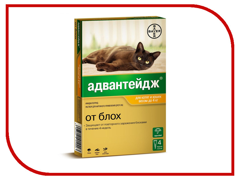 Bayer GL Адвантейдж 40К капли для котят и кошек до 4kg 01.2022 84291099
