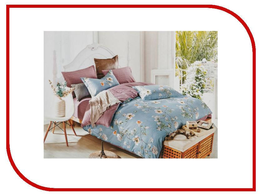 Постельное белье Santalino Жасмин Голубой Комплект Семейный Хлопок 831-899