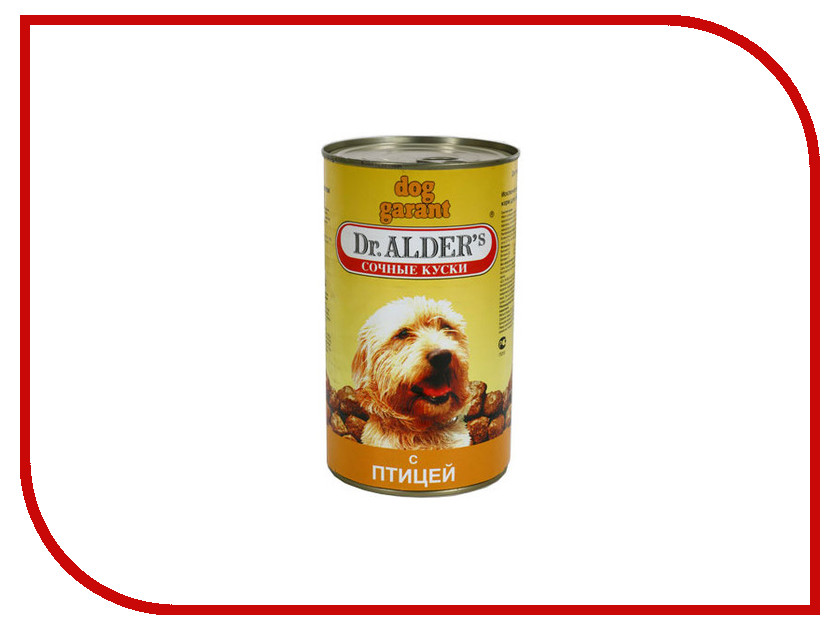 Корм Dr.Alder Dog Garant кусочки в соусе Курица, Индейка 1230g для собак 1791 корм консервированный edel dog для собак теленок в томатном соусе 150 г
