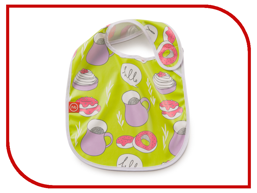Нагрудник на липучке Happy Baby Waterproof Baby Bib Lime 16009