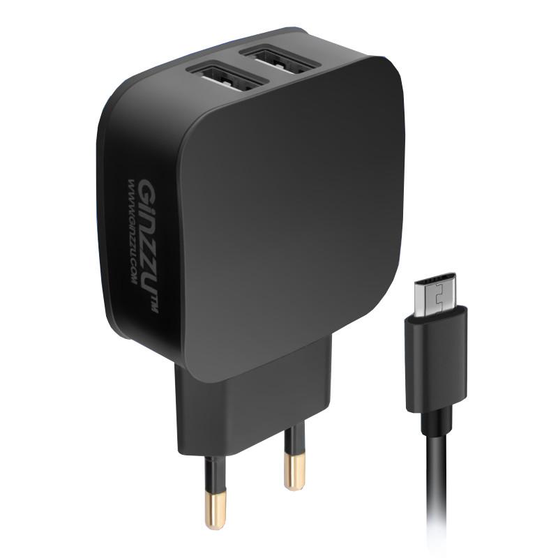 купить Зарядное устройство Ginzzu 2xUSB 2.1A Black GA-3010UB по цене 519 рублей