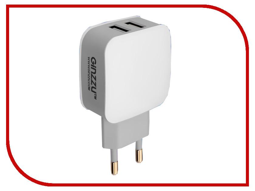 Зарядное устройство Ginzzu 2xUSB 2.1A White GA-3008W ginzzu s5050