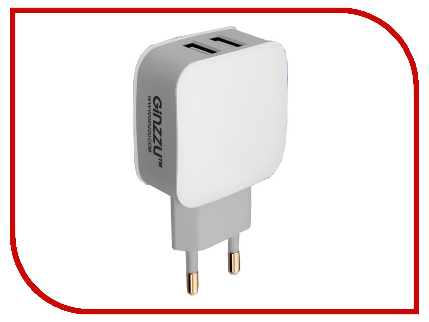 Зарядное устройство Ginzzu 2xUSB 2.1A White GA-3008W