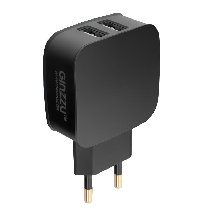 Зарядное устройство Ginzzu 2xUSB 2.1A Black GA-3008B зарядное устройство ginzzu 4xusb 6a ga 4430ub