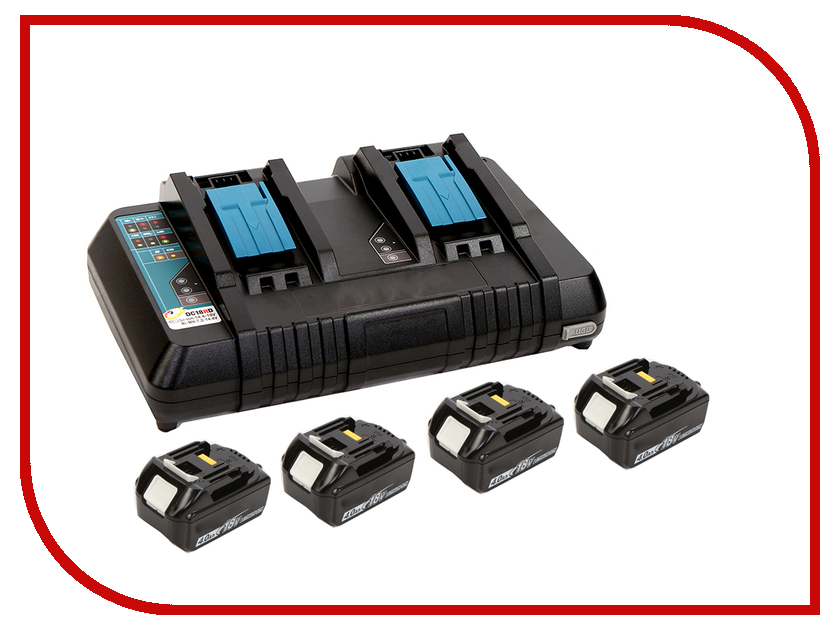 Комплект Makita Аккумулятор BL1840B Li-ion 18V 4Ah Слайдер х4шт + ЗУ DC18RD + Кейс MakPac 198489-5