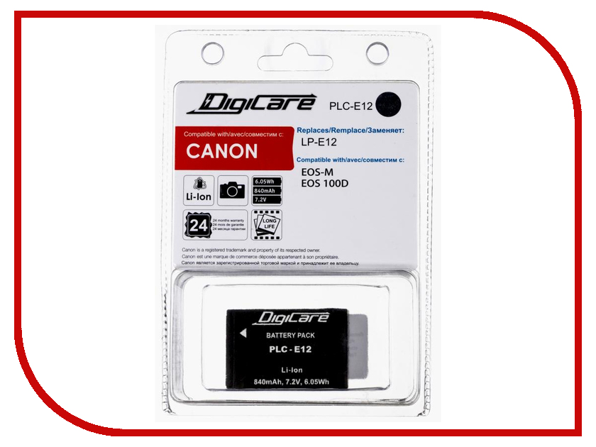 Аккумулятор DigiCare PLC-E12 for EOS M / EOS 100