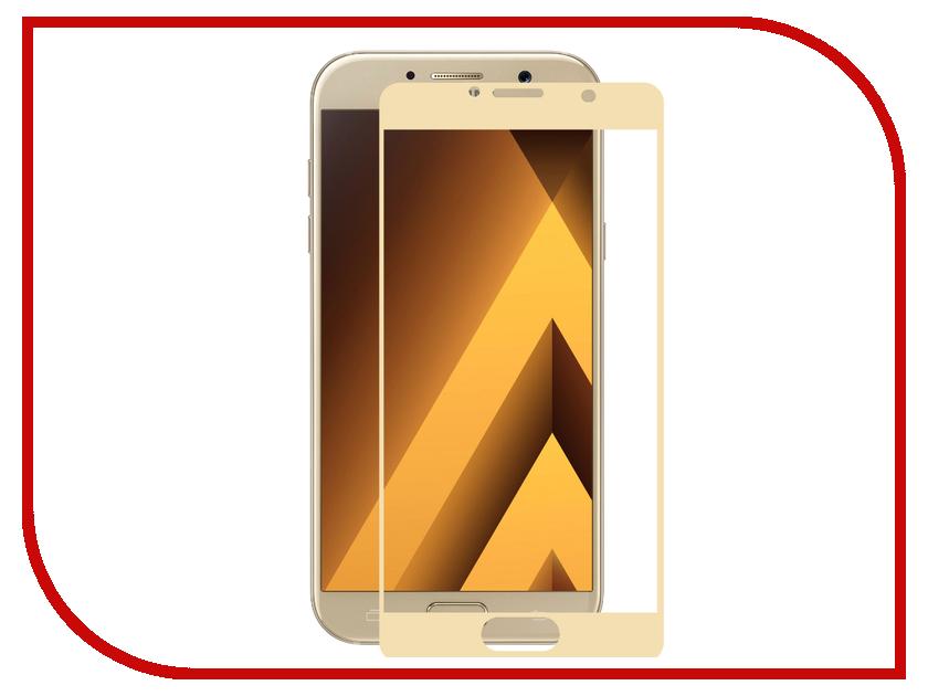 Аксессуар Защитное стекло 2.5D Samsung Galaxy A7 2017 InterStep IS-TG-SAMA720GD Gold 000B202 аксессуар защитная пленка samsung galaxy tab a 9 7 interstep ультрапрозрачная is sf sagtaba97 000b201