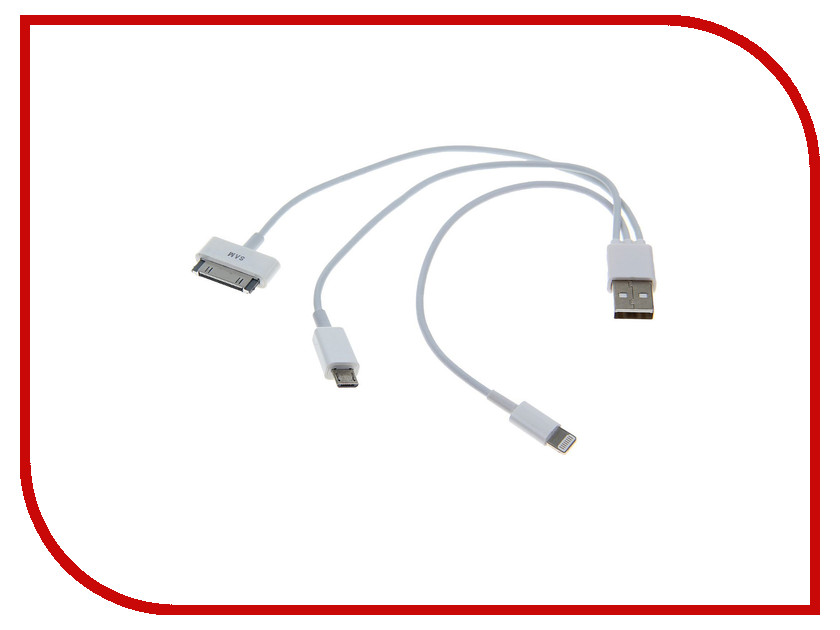 Аксессуар Luazon iPhone 4 / 5 3 in 1 microUSB White 155883 аксессуар luazon iphone 4 5 3 in 1 microusb 155884