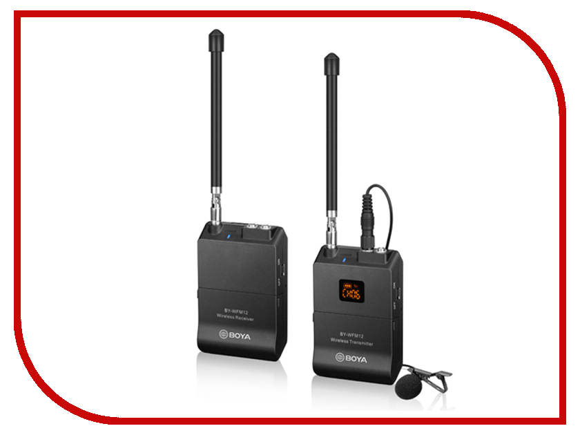 Радиосистема Boya BY-WFM12 boya by wm4 wireless lavalier microphone system smartphone lapel mic for iphone 8 7 android canon nikon tablet pc audio recorder