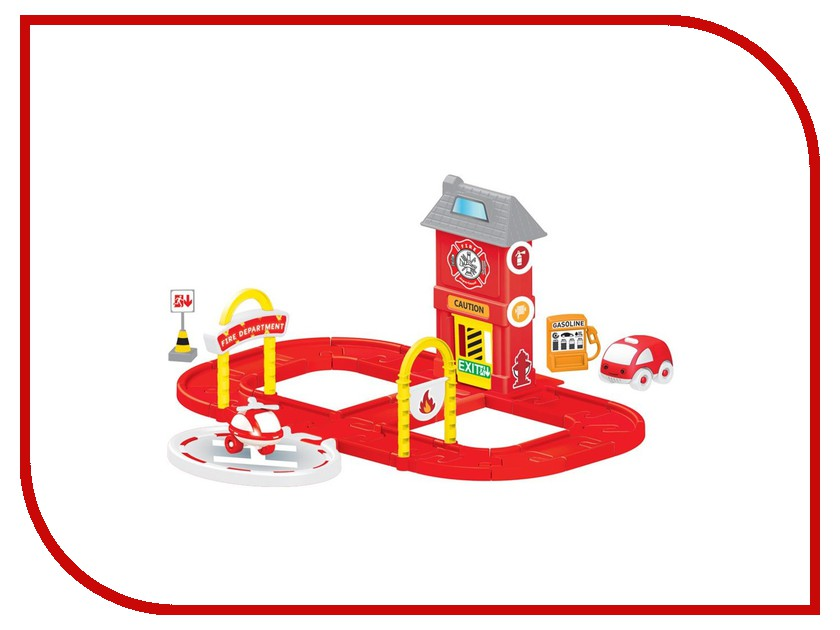 Автотрек Dolu Пожарная станция с круговой дорогой DL-5150 качели детские dolu подвесная маленькая пластиковая качелька