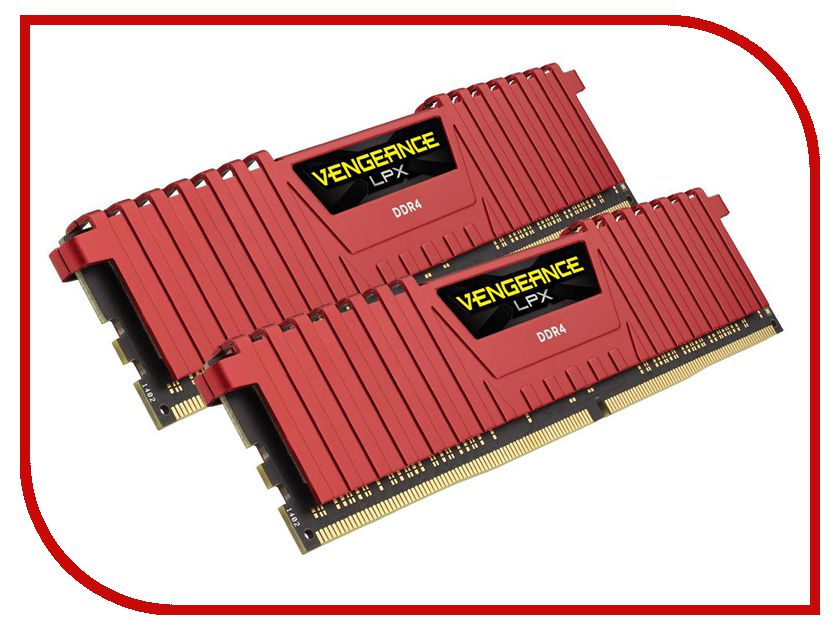 Модуль памяти Corsair Vengeance LPX Red DDR4 DIMM 2400MHz PC4-21300 CL16 - 16Gb KIT (2x8Gb) CMK16GX4M2A2400C16R модуль памяти corsair vengeance lpx cmk32gx4m4b3733c17r ddr4 4x 8гб 3733 dimm ret