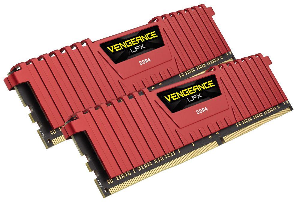Модуль памяти Corsair Vengeance LPX Red DDR4 DIMM 2400MHz PC4-19200 CL16 - 16Gb KIT (2x8Gb) CMK16GX4M2A2400C16R модуль памяти corsair vengeance lpx ddr4 dimm 2400mhz pc4 19200 cl14 8gb kit 2x4gb cmk8gx4m2d2400c14