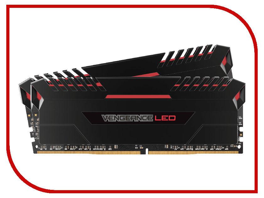 Модуль памяти Corsair Vengeance LED Red DDR4 DIMM 2666MHz PC4-21300 CL16 - 16Gb KIT (2x8Gb) CMU16GX4M2A2666C16R модуль памяти corsair ddr4 so dimm 2400mhz pc4 19200 16gb kit 2x8gb cmsx16gx4m2a2400c16