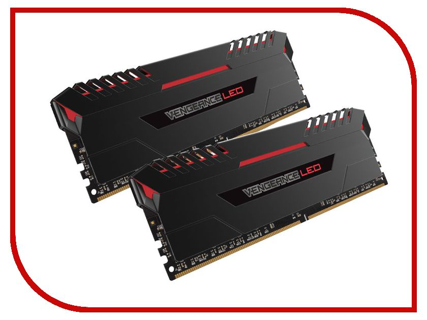 Модуль памяти Corsair Vengeance LED Red DDR4 DIMM 2666MHz PC4-21300 CL16 - 32Gb KIT (2x16Gb) CMU32GX4M2A2666C16R