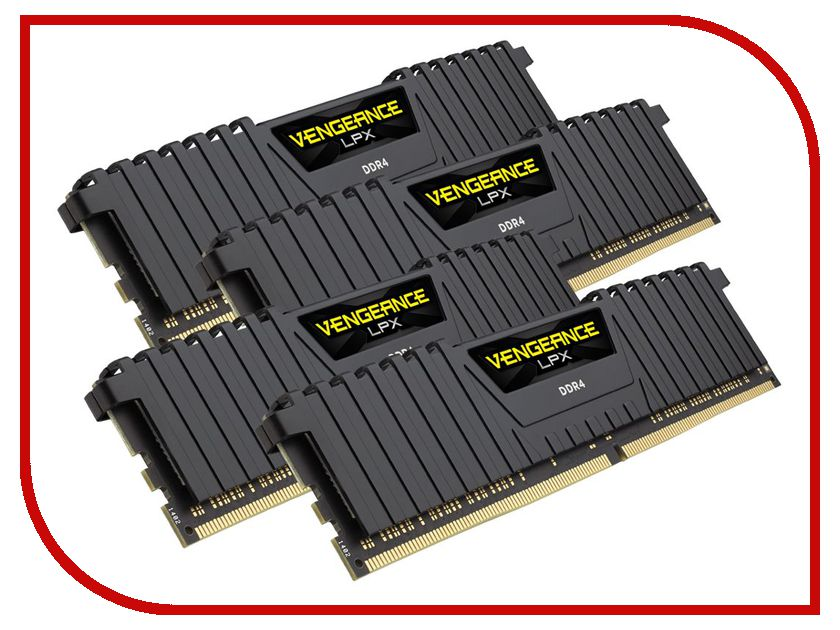 Модуль памяти Corsair Vengeance LPX DDR4 DIMM 2133MHz PC4-17000 CL13 - 64Gb KIT (4x16Gb) CMK64GX4M4A2133C13 модуль памяти corsair vengeance lpx cmk32gx4m4b3733c17r ddr4 4x 8гб 3733 dimm ret