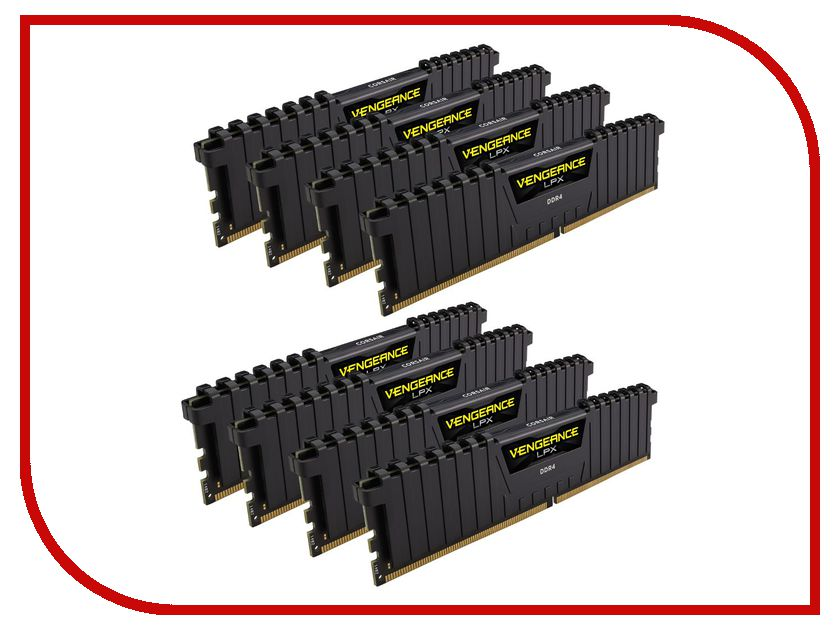 Модуль памяти Corsair Vengeance LPX DDR4 DIMM 2400MHz PC4-19200 CL14 - 64Gb KIT (8x8Gb) CMK64GX4M8A2400C14 модуль памяти corsair vengeance lpx cmk32gx4m4b3733c17r ddr4 4x 8гб 3733 dimm ret
