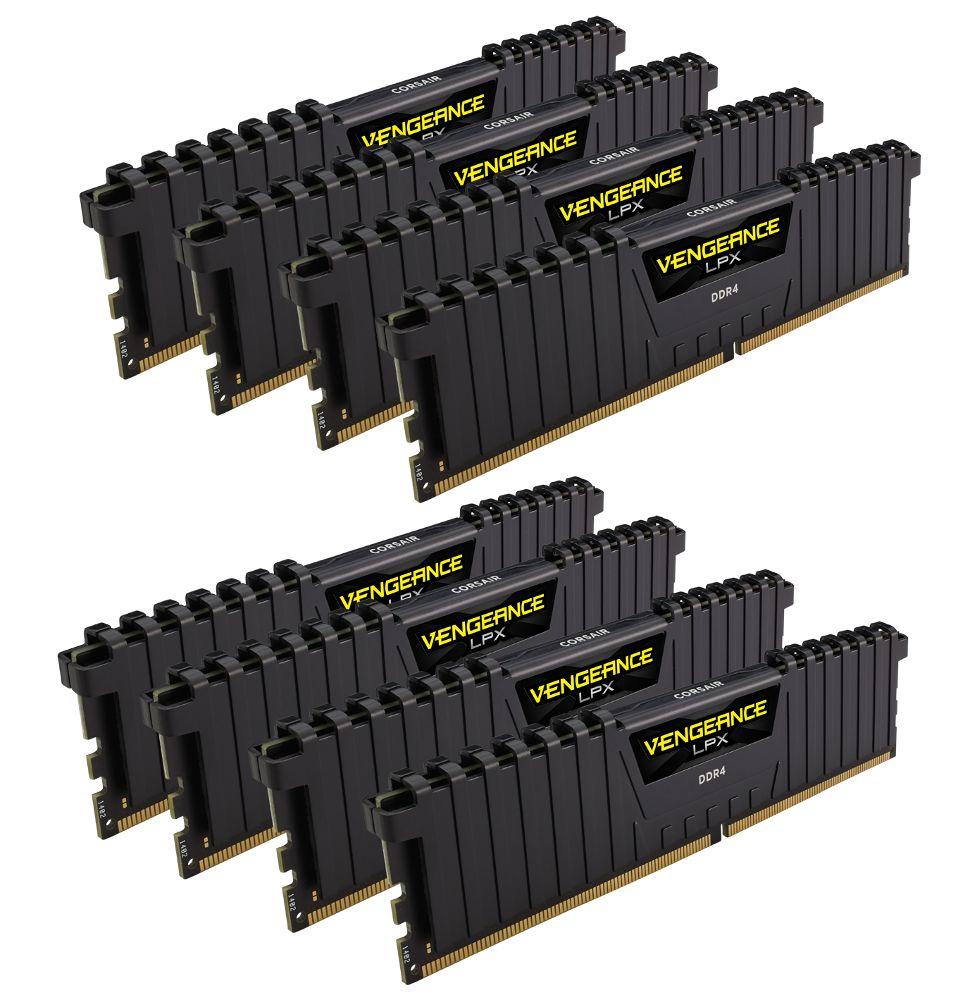 Модуль памяти Corsair Vengeance LPX DDR4 DIMM 2400MHz PC4-19200 CL14 - 64Gb KIT (8x8Gb) CMK64GX4M8A2400C14