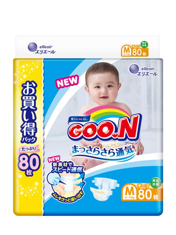 Подгузники Goo.N Ultra Jumbo Pack 6-11кг 80шт M 4902011751468 / 4902011855029