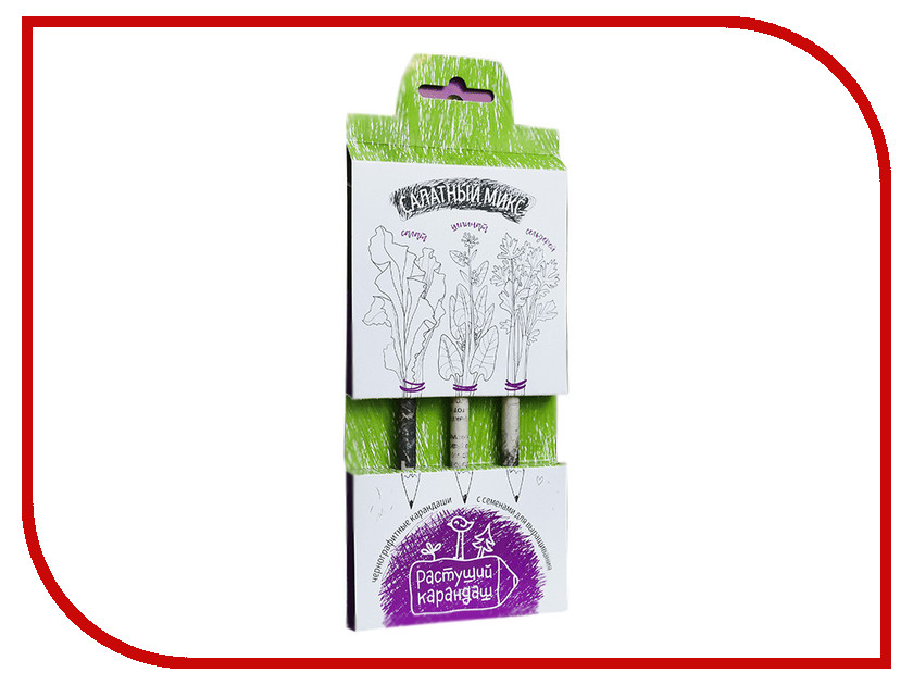 Растение Растущий карандаш Салатный микс чернографитные 3шт RK-01-03-01 растение растущий карандаш восточные пряности чернографитные 3шт rk 01 03 05