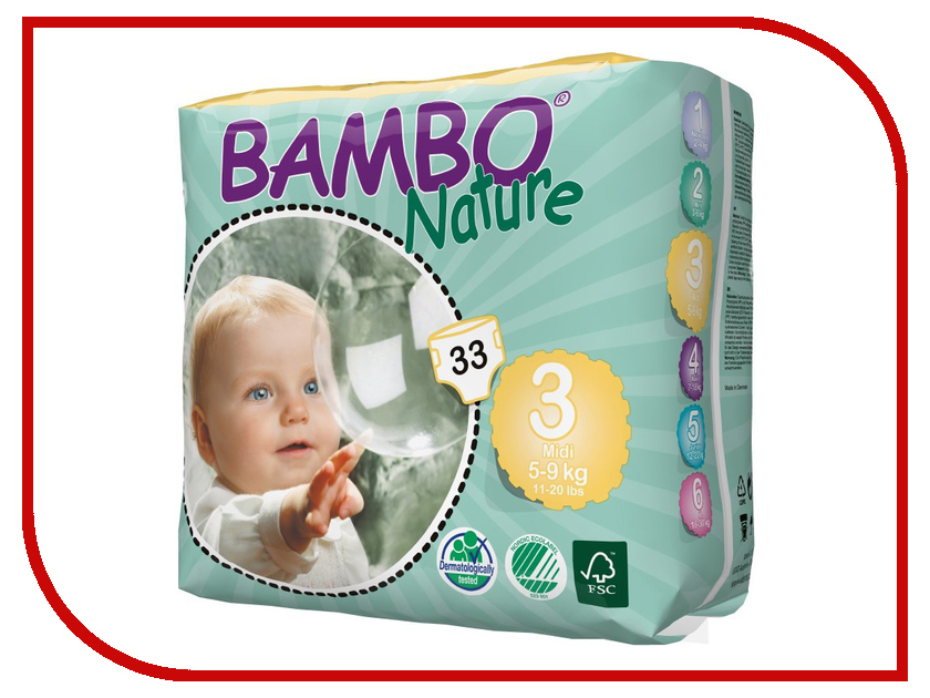 Подгузники Bambo Nature Midi 5-9кг 33шт 310133