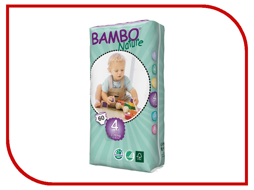 Подгузники Bambo Nature 7-18кг 60шт 310144