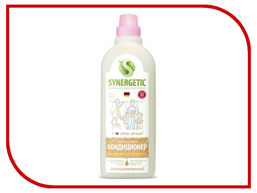 Средство Synergetic Кондиционер для белья, Миндальное молочко 1L 4623721671432
