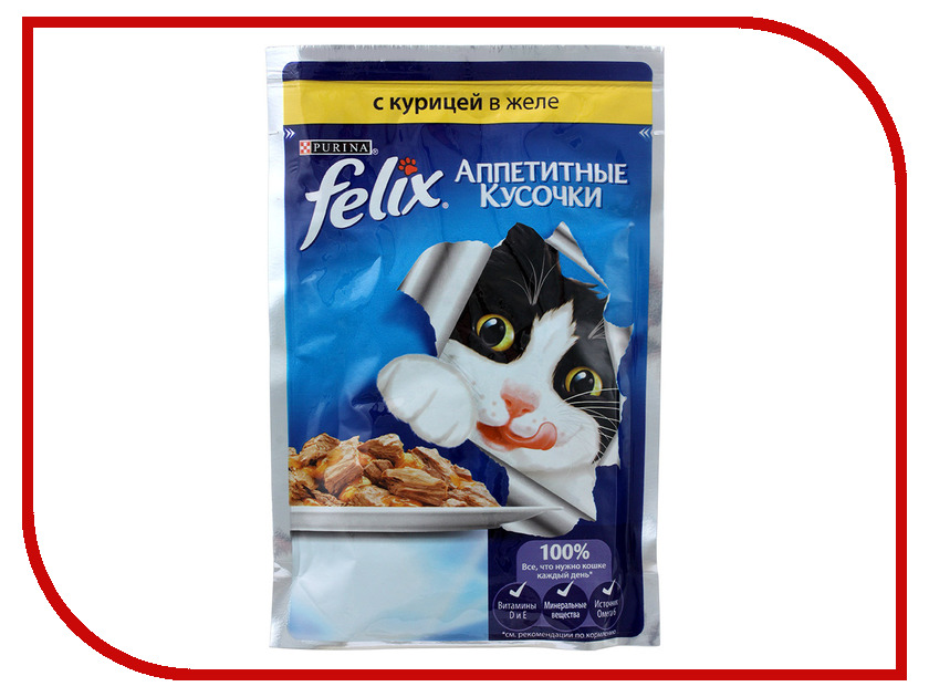 Корм Felix Курица аппетитные кусочки в желе 85g для кошек 12318960