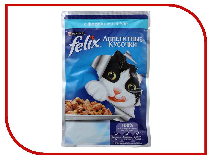 Корм Felix Форель аппетитные кусочки в желе 85g для кошек 12318914