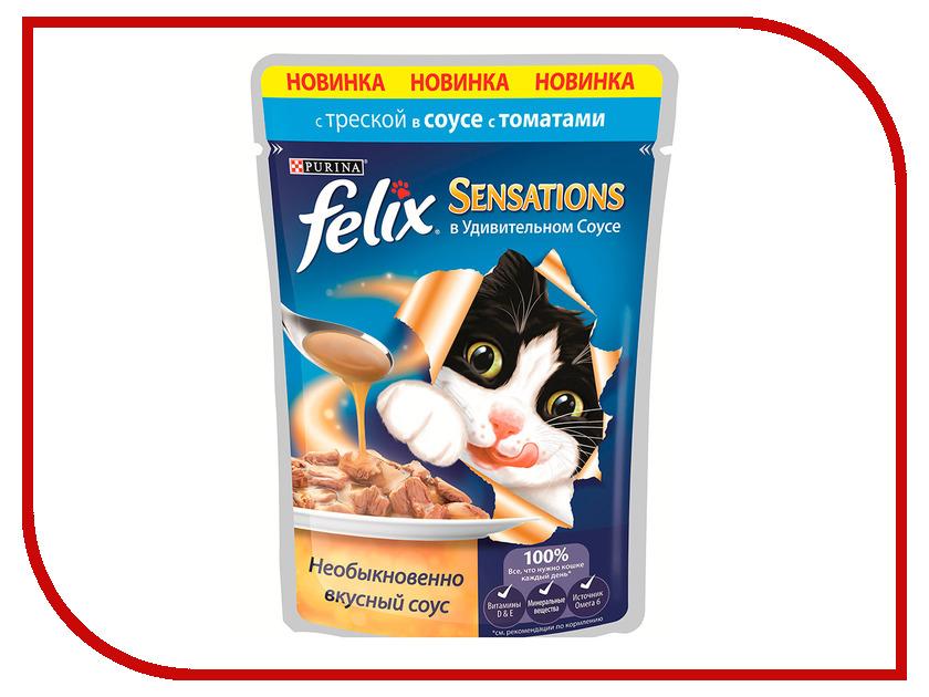 Корм Felix Sensations Треска и томат в удивительном соусе 85g для кошек 12318966