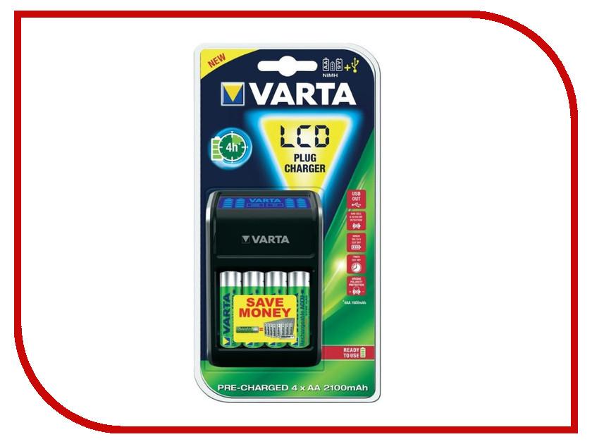 Зарядное устройство Varta LCD Plug Charger + 4 ак. 2100 mAh 57677101441