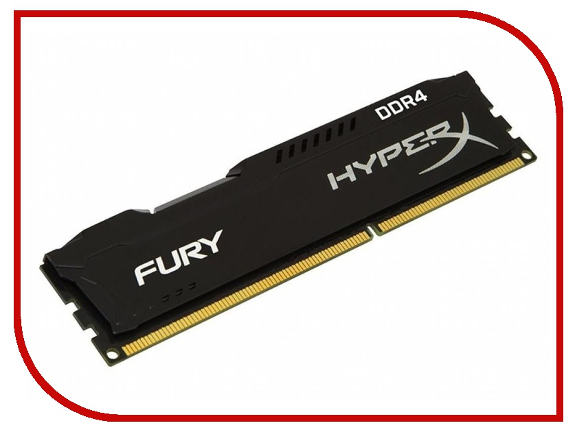 Модуль памяти Kingston HyperX Fury DDR4 DIMM 2400MHz PC4-19200 CL15 - 8Gb HX424C15FB2/8 ddr4 8gb kingston hyperx fury black