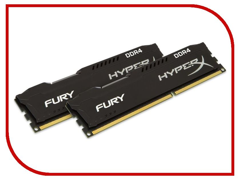 Модуль памяти Kingston HyperX Fury Black DDR4 DIMM 2666MHz PC4-21300 CL16 - 16Gb KIT (2x8Gb) HX426C16FB2K2/16 ddr4 8gb kingston hyperx fury black