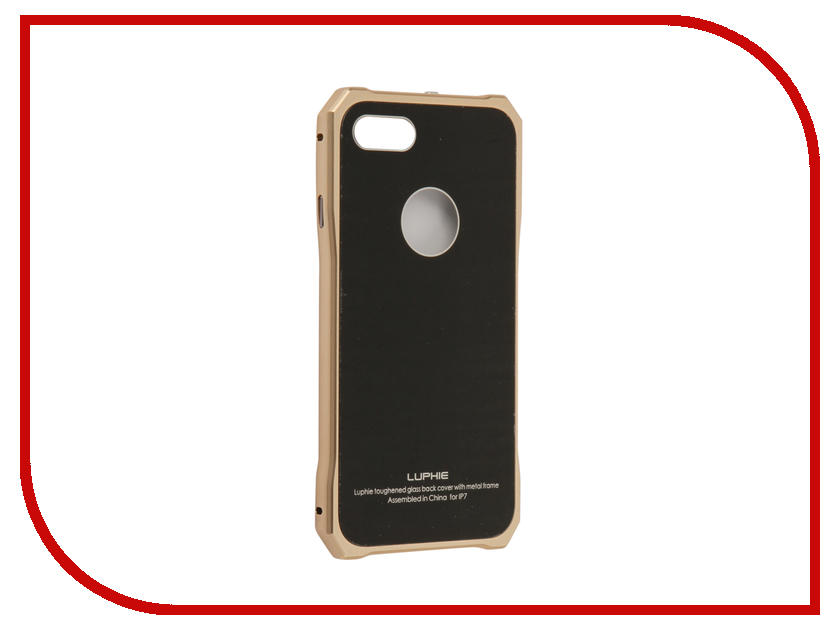 Аксессуар Чехол Luphie для iPhone 7 Toughend Glass Back + Metal Frame Black-Gold PX/LUPH-IPH7-TGBMF-bg luphie combo tough aluminium alloy armor case for iphone 6s 4 7 inch black