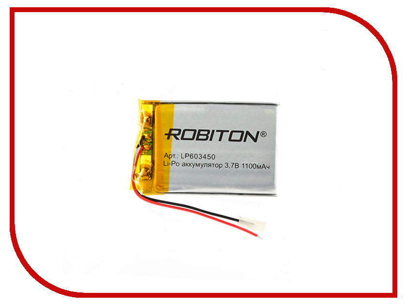 Аккумулятор LP603450 - Robiton 3.7V 1100mAh PK1 LP1100-603450 14692 аксессуар аккумулятор robiton dect t160 3xaa