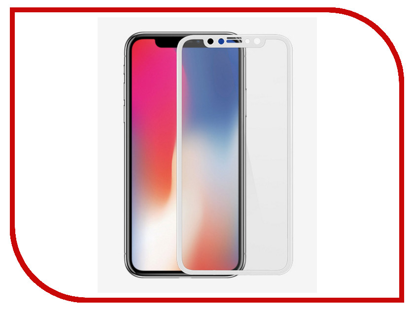 Аксессуар Защитное стекло Onext для APPLE iPhone X 3D White 41391 защитное стекло onext для apple iphone 7 plus глянцевое