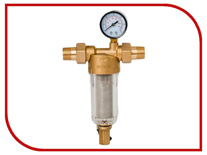 Фильтр для воды Гейзер Бастион 112 3/4 с манометром для холодной воды d60 32671