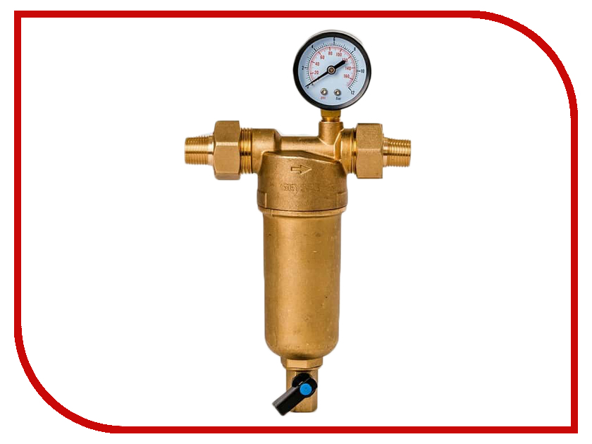 Фильтр для воды Гейзер Бастион 122 1 / 2 с манометром для горячей воды воды d60 32672