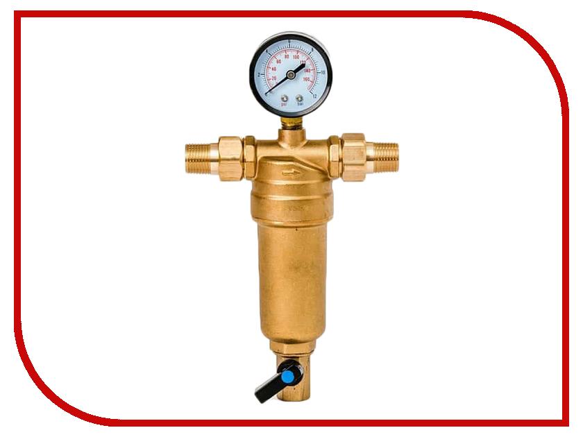 Фильтр для воды Гейзер Бастион 7508165201 1/2 для горячей воды с манометром d53 32677